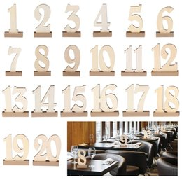 Wholesale Wooden Stand Christmas Decorations - 1-20  set Wooden party table number tag stand wedding table number holder rustic hessian hotel party table decoration