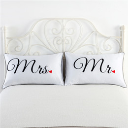 Wholesale Fancy Patterns - Fancy Pattern Mr Mrs White Couples Pillowcase Superior Polycotton Digital Printing Pillow Case For Wedding Valentine's Gift