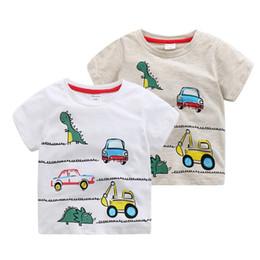 Wholesale Boys Dinosaur Shirts - Korean Baby 2017 Summer Clothing Kids All Match Short Sleeved Tops Boys Cartoon Dinosaur Printing Children Cotton T-shirts B4739