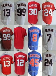 "Wholesale Blue Red Movies - Mens The ""Major League"" Movie Baseball Jersey Cleveland 24 Roger Dorn 99 Rick Vaughn 13 Pedro Cerrano 7 Jake Taylor Jersey"