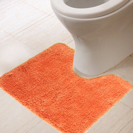 Wholesale x45cm Microfiber solid toilet rug Orange Thicken bathroom toilet mats non slip Natural latex back