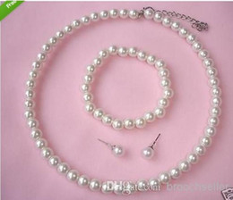 Wholesale Acrylic Cream - Cream Faux Acrylic Pearl Beaded Choker Necklace Bracelet and Stud Earrings Prom Party Jewelry Sets