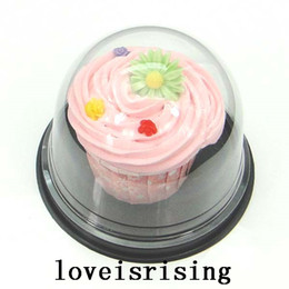 Wholesale Wedding Cake Favor Boxes Wholesale - 50pcs=25sets Clear Plastic Cupcake Cake Dome Favor Boxes Container Wedding Party Decor Gift Boxes Wedding cake boxes Supplies