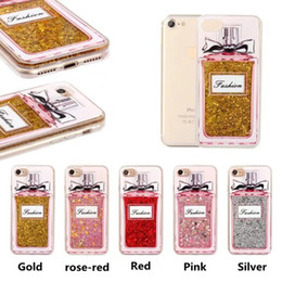 Wholesale Flow Iphone - Luxury Perfume Bottle Case Paillette Flowing Liquid Sand Anti-Knock PC+TPU Protection Back Cover Cases For iPhone 7 7 plus 6s 6 plus