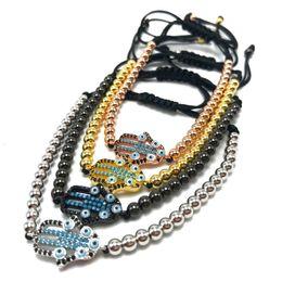 Wholesale Bracelet Stainless Steel Evil Eye - Stainless Steel Bead Braiding Hamsa Fatima Hand Evil Eyes Bead Bracelet Micro Pave CZ Bracelets Men's Couple Bracelet