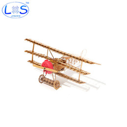 Wholesale Three Airplane - Fun 3D Metal Model Puzzle Fokker Dr.1 World War 1 Fighter Three-wing Aircraft Airplane Puzzle Assembly Model Assembling Toy