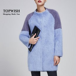 Wholesale Ladies Mink Jackets - Wholesale- 100% Pure Mink Cashmere Casual Cardigans Contrast Fashion Color Mink Cashmere Coat Lady Long Fur Sweater Luxury Jacket TFP983
