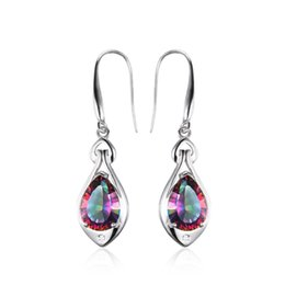 Wholesale Mystic Fire Topaz Jewelry - Water Drop 6.8ct Rainbow Fire Mystic Topaz Dangle Earrings Pure 925 Sterling Silver New Fine Jewelry For Women