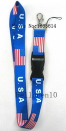 Wholesale Id State - Heat! 10pcs Flag of the United States removable buckle mobile phone rope lanyard Strap Badge ID Running Cell Holder charm JK16