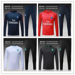 Wholesale Men S Training Pants - kids TOP THAI QUALITY new 17-18 Real Madrid kids soccer chandal white football tracksuit 2017-2018 training suit pants Sportswear