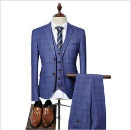Wholesale Tuxedo Suits Tailored - 2017 Mens Suits Designers Tailored Fashion Checkered 3 Piece Slim Fit Dress Suit Costume Tuxedo Wedding Groom Suit For Men 0001