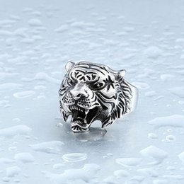 Wholesale Rings 11 Titanium - Hot Sale Fashion Domineering Jewelry Stainless Steel Tiger Ring ( 3 Colors ) Size: 7 8 9 10 11 12 13 Mix Size
