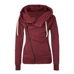 Wholesale Zipper Hoodie Sweaters Wholesale - Wholesale- Women Long Sleeve Hoody Hoodie Sweater Pullover Sweatshirt Jumper Oblique Zipper Coat
