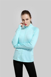 Wholesale Yoga Fitness Clothes - New Woman Sport Jackets Fitness Female Yoga Clothes Long Sleeved Sweatshirt Running Outerwear Sports Jacket Blue Color