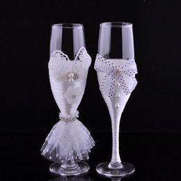 Wholesale Bride Groom Wine Glasses - New Wedding Toasting Flutes Champagne Glasses Wedding Decoration Valentine's Day groom and bride wedding wine glass ZA3046