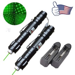 Wholesale Astronomy Powerful Green Laser Pointer - 2x 10Mile Military 009 2in1 Green Laser Pointer Pen Star Cap Astronomy 5mw 532nm Powerful Cat Toy+18650 Battery+Charger