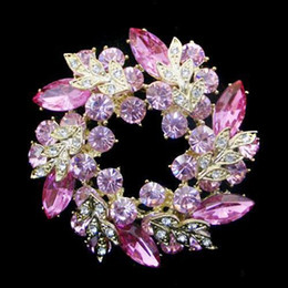 Wholesale Unique Tin Gifts - Gold Plated Unique Flower Pink Crystal Wreath Brooch Jewelry