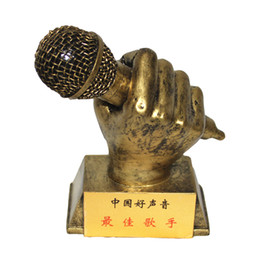 Wholesale Resin Craft Souvenir - Customize Microphone Singing Competition Trophy Home Decoration Trophy Cup Resin Craft Music Souvenir