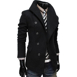 Wholesale Thick Thermals Long Sleeves Men - Wholesale- Wool & Blends Men Fashion Winter Warm Trench Coat Large Single-breasted Lapel Placket Male Trenchcoat Outerwear Thermal Parka