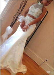 Wholesale Diamond Backless Prom Dress - Mermaid 2 Pieces Prom Dresses High Neck Sleeveless Diamonds Beads Satin Floor Length Sparkly 2016 Party Gowns Custom Made