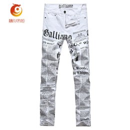 Wholesale Korean Casual Pants Cotton - Wholesale- Low-Waisted Summer Jeans Mens Painted Skinny Jeans Men Denim Trousers White Color Printing Korean Casual Pants For Men'S Cloth