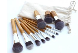 Wholesale Makeup Brushes Synthetic Natural - DHL free 11Pcs Makeup Brushes Cosmetics Tools Natural Bamboo Handle Eyeshadow Cosmetic Makeup Brush Set Blush Soft Brushes Kit With Bag