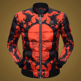 Wholesale Natural Red Skulls - Free Shipping 2017 New Arrival Fashion Style Winter Coat Famous Design High Quality Printed Skull European Clothes Mens Casual Coat Hot Sale