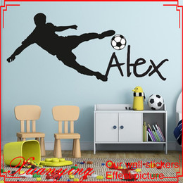 Wholesale Lighted Wall Child - Football Soccer Ball Personalized Name Vinyl Wall Decal Sticker Art Children Wall Sticker Kids Room Decor Home Decoration