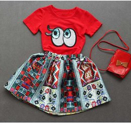 Wholesale Tshirt Cotton For Children - Wholesale 2017 Kids Girls Big Eyes Clothing Baby 2 Pieces Sets Children Summer Suits TShirt And Skirts For 90-130cm