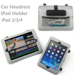 Wholesale Ipad Case For Car - Wholesale-Gray Color Car Vehicle Back Seat Headrest PU Leather Case Cover Mount Holder For iPad 2 3 4