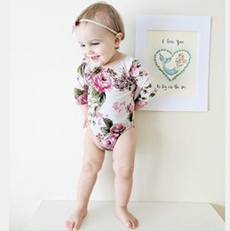 Wholesale Long Sleeved Jumpsuits - ins hot sale autumn new design baby girl floral rompers infant toddlers soft cotton long sleeved backless jumpsuit