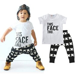 Wholesale Boys Summer Outfits - Boys Casual Clothing Sets Baby Letters Cross Pattern Fashion Suits Infant Outfits Kids Tops & Trousers 1-5T LG2017