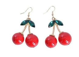 Wholesale Crystal Fruit Plate - Frozen Cherry Dangle earrings Lovely Red Fruit Ear Stud Crystal Rhinestone Women Fashion Charm Earrings Party Wear