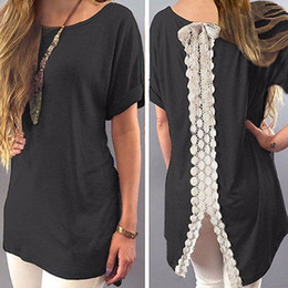 Wholesale Wholesale Womens T Shirt - Summer Ladies Womens Casual Shirt Plain Simple Design Short Sleeve Lace Back Loose T-Shirt Tees Slim Tops Plus Size