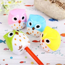 Wholesale Mini Pencil Sharpeners - Wholesale-Kawaii Pencil Sharpener Cutter Knife Mini Owl 2 Hole Sharpeners Gift Stationery School Office Accessories Students Gift Supplies