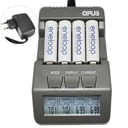 Wholesale Fast Aa Charger - Opus AC100-240V LCD Display Fast charging 4 Slots Intelligent 14500 AA AAA Ni-MH,NiCd Battery Charger