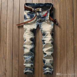 Wholesale Motorcycle Fit - Fashion Mens Biker jeans men slim Fit Pleated Motorcycle Denim Joggers Male Designer Cargo Jean Trousers Plus Size