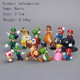 Wholesale Super Mario Action Figures Collection - 18PCS Set Super Mario Action Figures Collection GCA Brothers Mini Party Figures Peach Toad Luigi Yoshi Donkey Kong PVC Action Figures Toy
