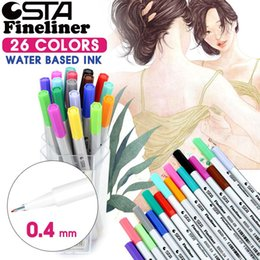Wholesale Manga Copic Markers - STA 0.4mm 26 Colors Imported Needle Tip Markers Water Based Ink Color Pen Manga Drawing Copic Markers for Art Supplies