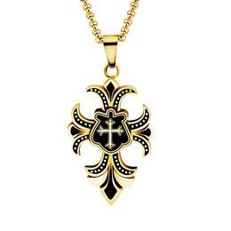 Wholesale Iris Pendant - Wholesale 10Pcs lot 2017 Top Fashion Hip Hop Jewelry Pendant Vintage Cross Iris Flower Titanium Steel Chains Silver Necklaces For Men