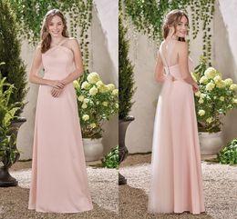 Wholesale Wedding Dresses Unique Designs - Pink A Line Bridesmaid Dresses 2017 Simple Long Off the Shoulder Bridesmaid Gowns Open Back Unique Design Wedding Guest Dresses