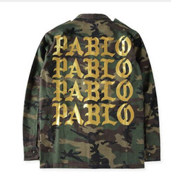 Wholesale Hip Hop Camo Clothing - NEW PABLO Jacket Men Army Military Windbreak Camo Jackets Gold Letters Printed Brand Clothing Hip hop Streetwear coat Kanye West clothi