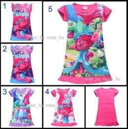 Wholesale Girls Tutu Pajamas - 5 Style Girls Trolls Poppy Branch princess dress 2017 New Children trolls cartoon short sleeves Pajamas dresses Kids clothes B