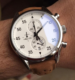 Wholesale Analog Brown Watch - NEW ARRIVAL Carrea Calibre 1887 SpaceX Chrono Flyback Stopwatch White Dial Brown Leather Belt Mens Watches Sports Gent Watch VK Chronograph