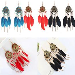 Wholesale Long Red Feather Earrings - Bohemian Black Blue Red Drop Feather Dangle Earrings Tiered Long Tassel Dangle Earring Ear Drop Wedding Gift Free DHL B671L