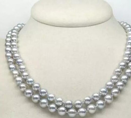 Wholesale Huge Round Pearls - HUGE AAA 9-10MM PERFECT ROUND SOUTH SEA GENUINE GRAY PEARL NECKLACE 35""