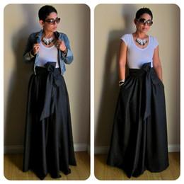 Wholesale Cotton Womens Belts - Vintage Black Yellow Solid Cotton Bow Belt A-line Maxi Floor-Length Skirts Womens 2017 Autumn TUTU Long Ball Gown Party Skirt