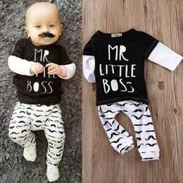 Wholesale Moustache Shirts - NWT INS 2017 New cute Baby boys Outfits 2piece Set Cotton Long Sleeve Shirts Tops + moustache pants - Mr Little Boss Letter Print