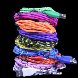 Wholesale Round Braiding - 10 Colors 1M 2M 3M Micro V8 5pin type c Fabric usb Cable For Samsung s6 s7 s8 Fabric Nylon Round Braided Micro USB Charger Cable