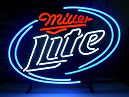 Трубка lite онлайн-Мода новый ручной работы Miller Lite реальные стеклянные трубки пивной бар дисплей неоновый знак 19x15!!!Лучшее Предложение!